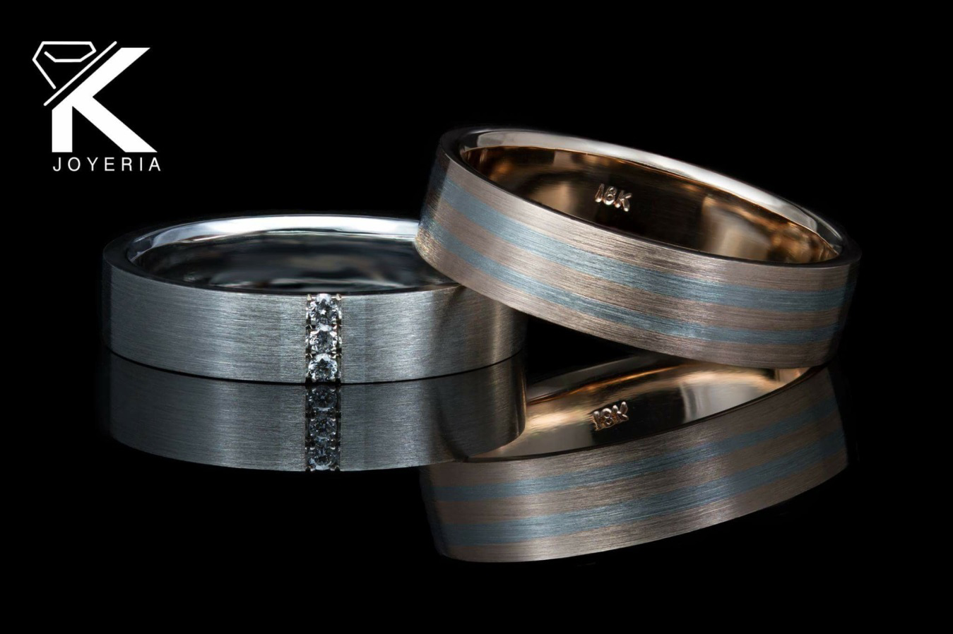 Argolla de Matrimonio Blanca 3 Diamantes